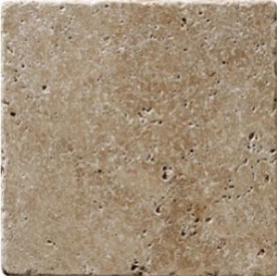 tan, white marble Noche Travertine Tumbled Marble Tile