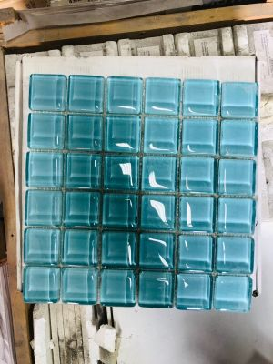 blue, green glass DUPIONI by washed blue/green glass
