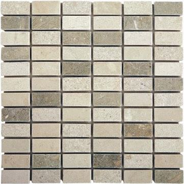 "green, tan, white stone Efes Crema/Rustic Green Marble Tiles 1"" x 2"""