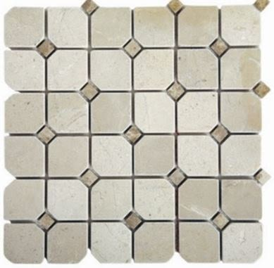 "green, tan, white natural stone Gala Crema Marfil 2"" x 2"" Mosaics with Emperador Dots - Tumbled Marble Tile"