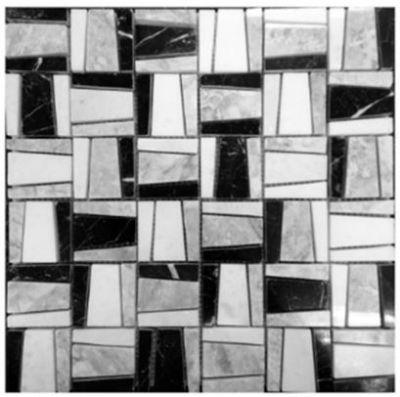black, gray, white marble Lykia White Carrara Mosaic Marble Tiles