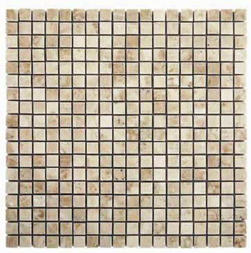 "tan, white stone Micro Cappuccino 5/8"" x 5/8"" Marble Tiles"