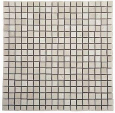 """tan, white stone Micro Crema 5/8"""" x 5/8"""" Marble Tiles"""