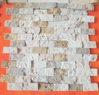 tan, white, beige travertine 1×2 splitface mosaic  by turkey