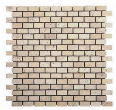 "tan, white marble Ivory Travertine 5/8"" x 5/8"" Mini Bricks Tumbled Marble Tiles"