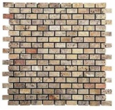 "brown, tan, white marble Scabos Travertine 5/8"" x 5/8"" Mini Bricks Tumbled Marble Tiles"
