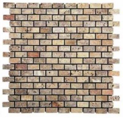 """brown, tan, white marble Scabos Travertine 5/8"""" x 5/8"""" Mini Bricks Tumbled Marble Tiles"""