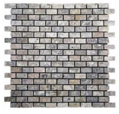"blue, gray, white marble Silver Travertine 5/8"" x 5/8"" Mini Bricks Tumbled Marble Tiles"
