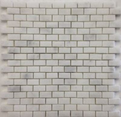 "blue, gray, white marble White Carrara 5/8"" x 5/8"" Mini Bricks Marble Tiles"