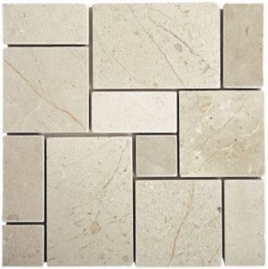tan, whiteMini French Crema Marfil Tumbled Mosaic Marble Tiles