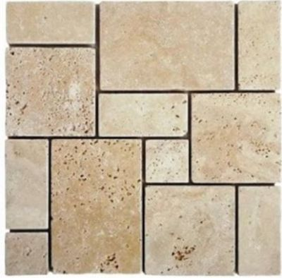 tan, white stone Mini French Light Ivory Travertine Mosaics Tumbled Marble Tiles