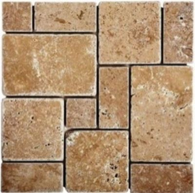 brown, tan stone Mini French Noche Travertine Mosaics Tumbled Marble Tiles