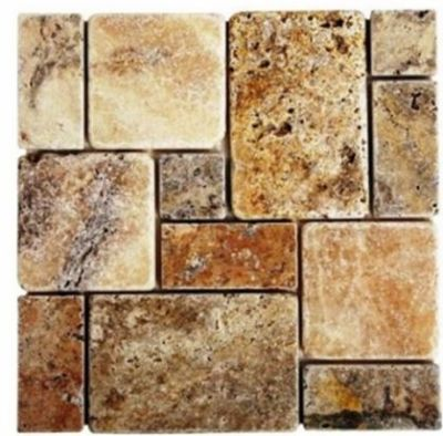 brown, tan natural stone Mini French Scabos Travertine Mosaic Tumbled Marble Tiles