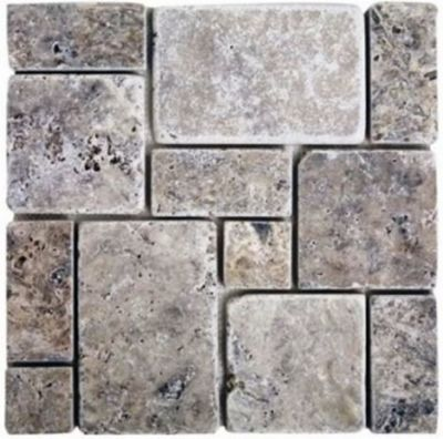 blue, gray, white stone Mini French Silver Travertine Mosaic Tumbled Marble Tiles