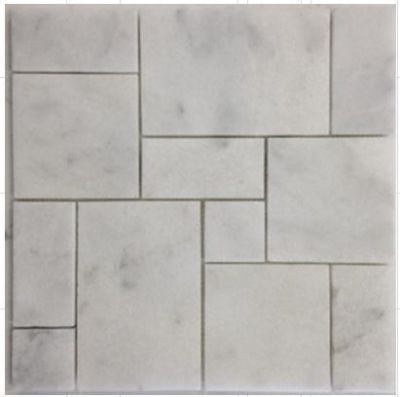 gray, white stone Mini French White Carrara Mosaic Marble Tiles