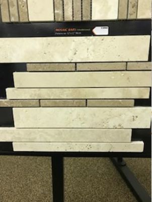 tan, yellow stone Light Ivory/Noche Mosaic Bars - Marble Tile