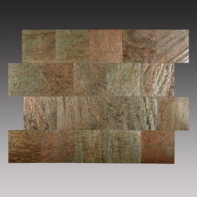 brown, gold, red, tan slate  Peel & Stick Copper Slate Tiles