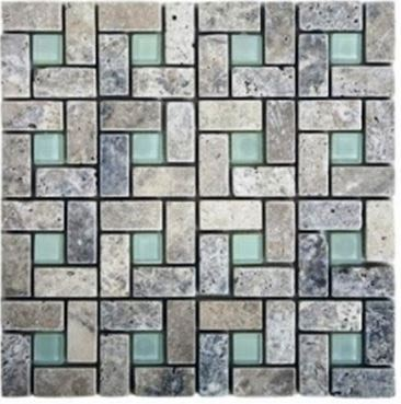 blue, brown, gray, white marble Spiral Silver Travertine - Tumbled Marble Tiles