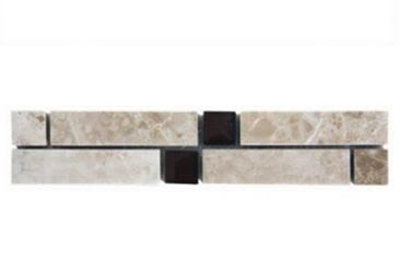black, tan marble Volga Cappuccino with 1x1 Black Glass Insert Marble Border Tile