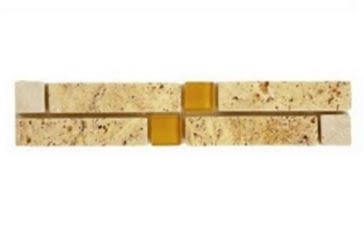 brown, gold, tan, yellow marble Volga Scabos/Ivory Travertine 1x1 Brown Glass Insert Marble Border Tile
