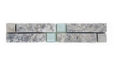 blue, gray, white marble Volga Silver Travertine with 1x1 White Glass Insert Marble Border Tile