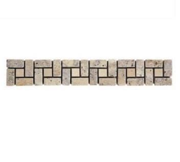 tan, white, yellow marble Yukon Scabos Travertine Mini Spiral with 1x1 Ivory Insert Marble Border Tile