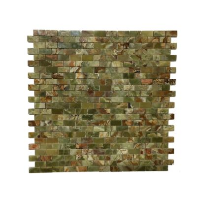 """green onyx Multi Green Onyx 1"""" x 2"""" Mosaic Tiles (Polished)  by mosaic tile center"""