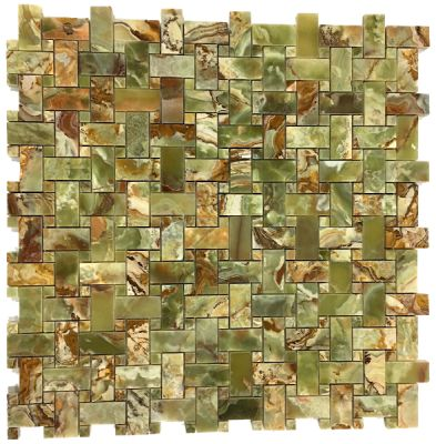 green onyx Multi Green Onyx Basket Weave Mosaic Tiles (Polished) by mosaic tile center