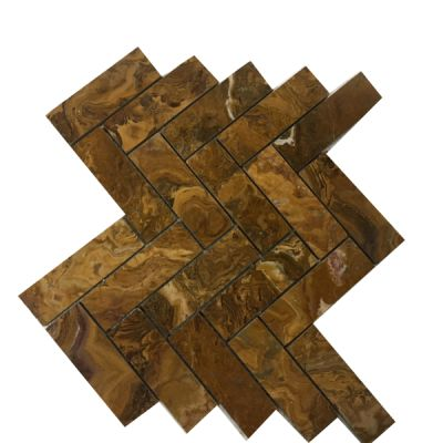 "brown onyx Multi Brown Onyx Herringbone 1"" x 4"" Mosaic Tiles (Polished)  by mosaic tile center"
