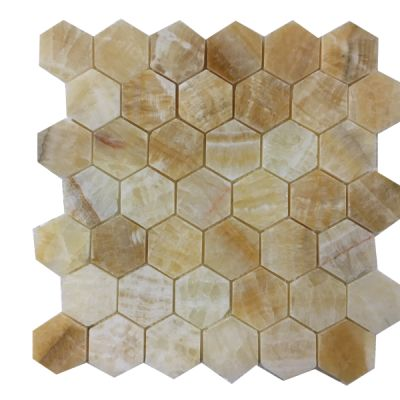 "onyx Honey Onyx 2"" Hexagon Mosaic (Polished)  by mosaic tile center"