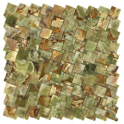 green onyx Multi Green Onyx Square Basket Weave Mosaic Tiles (Polished) by mosaic tile center