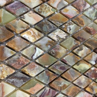 green onyx Multi Green Onyx Diamond Mosaic Tiles (Tumbled) by mosaic tile center