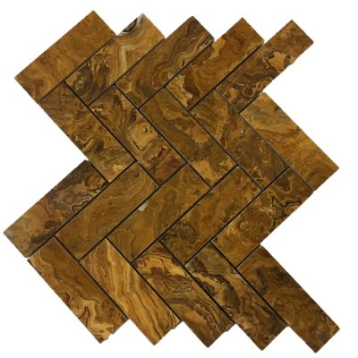 "brown onyx Multi Brown Onyx 1"" x 4"" Herringbone Mosaic Tiles (Polished)  by mosaic tile center"