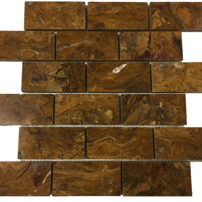 "brown onyx Multi Brown Onyx 2"" x 4"" Mosaic Tiles (Polished)  by mosaic tile center"