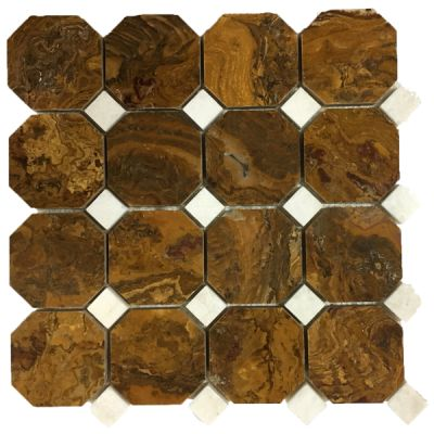 brown onyx Multi Brown Onyx Octagon Mosaic Tiles (Polished) With White Dot by mosaic tile center