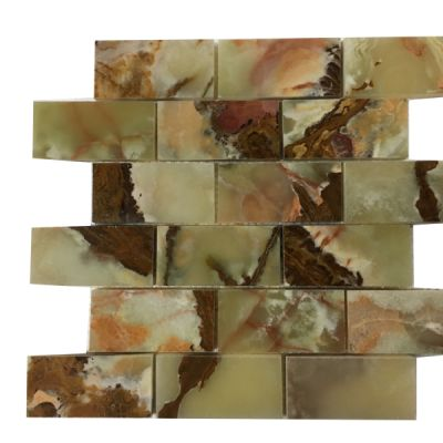 "green onyx Light Green Onyx 2"" x 4"" (Dark Shade) Mosaic Tiles (Polished)  by mosaic tile center"