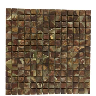 "green, red onyx Red & Green Onyx Tiles 3/4""x 3/4"" (Tumbled) Mosaic  by mosaic tile center"