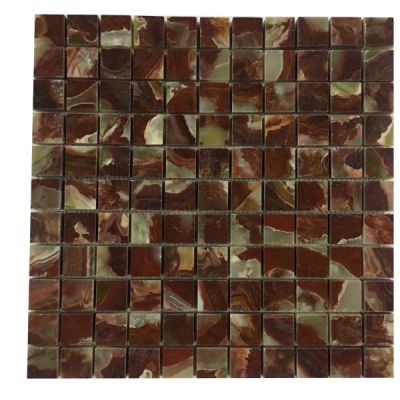 "red onyx Classic Red Onyx 3/4"" x 3/4"" (Polished) Mosaic  by mosaic tile center"