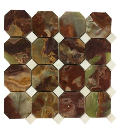 green, red onyx Red & Green Octagon Mosaic with White Dot by mosaic tile center
