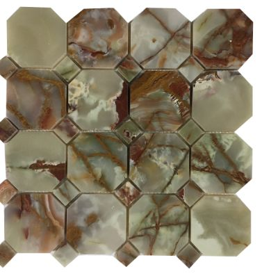 green, red onyx Red & Green Octagon Mosaic with Same Color Dot (Polished) by mosaic tile center