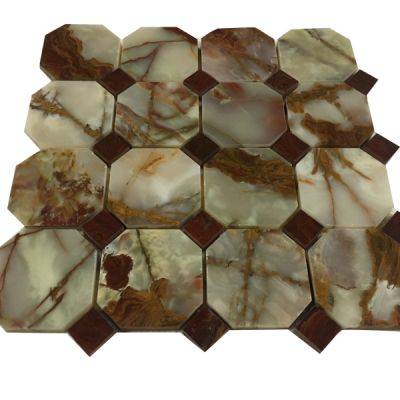 green, red onyx Red & Green Octagon Mosaic with Red Dot Mosaic by mosaic tile center