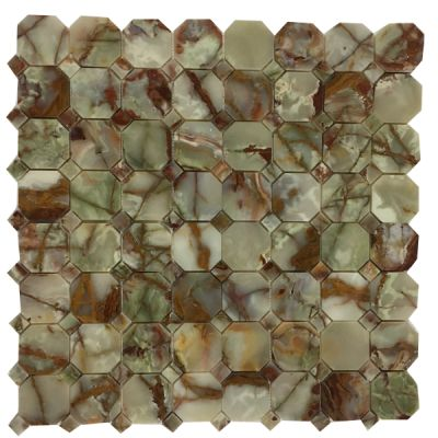 green, red onyx Red & Green Octagon Mosaic with Same Color Dot Mosaic (Polished) by mosaic tile center
