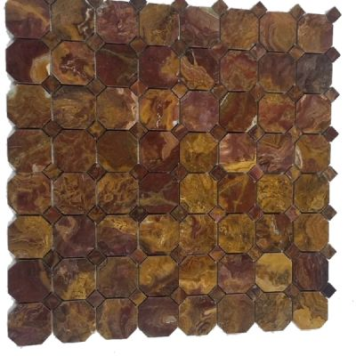 red onyx Multi Red Onyx Octagon Mosaic with Same Color Dot Mosaic (Polished) by mosaic tile center