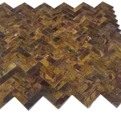 red onyx Multi Red Onyx Herringbone Mosaic (Polished) by mosaic tile center