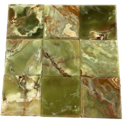 """green onyx Dark Green Onyx 4"""" x 4"""" Bevel Tiles (Polished)  by mosaic tile center"""