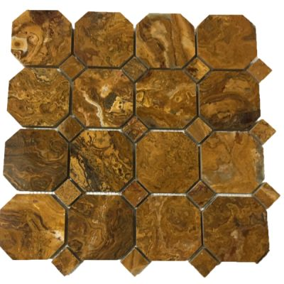 brown onyx Multi Brown Onyx Octagon (Polished) with Multi Brown Dot by mosaic tile center
