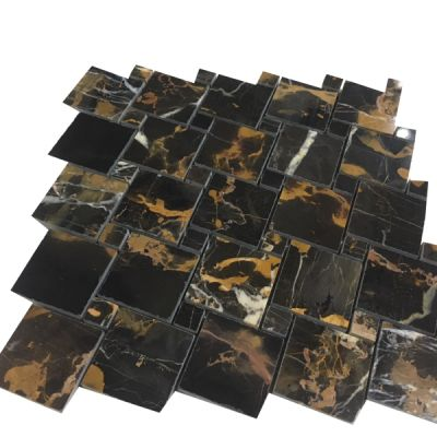 marble Michelangelo Square Basket Weave Mosaic Tiles (Polished) by mosaic tile center