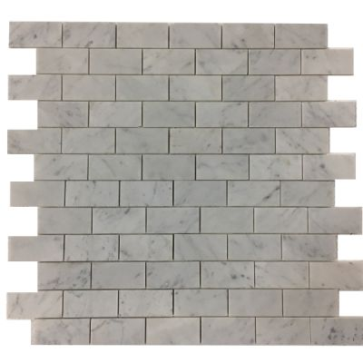 "white marble Bianco White Marble 2"" x 4"" Subway Mosaic Polished  by mosaic tile center"