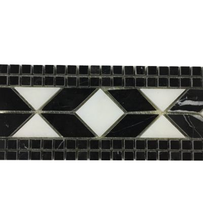"black, white marble White & Black Marble Borders 3"" x 12"" Polished by mosaic tile center"