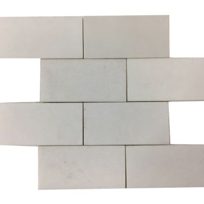 "white marble Thassos White Marble 3"" x 6"" Polished  by mosaic tile center"